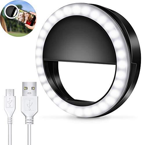 Selfie Ring Light, Selfie Anneau de Lumière Rechargeable 36 LED 3-Niveaux Luminosité pour Photographie vidéo sur téléphone Portable, Tablette, caméra
