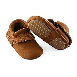 """YugYug Baby Schuhe Classic Mokassin """"Maxi"""" (Antirutsch-Sohle) - Krabbelschuhe für Baby, Baby Hausschuhe, Baby Krabbelschuhe Leder mit Sohle aus Kautschuk in braun"""