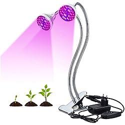 Finether Lampe de Croissance pour Plante Lampe Horticole à Double Tête 18W 80LED avec Cou de Cygne Flexible 360 ° LED Grow Light IP66 Etanche pour Plantes, Fleurs, et Légumes Intérieur