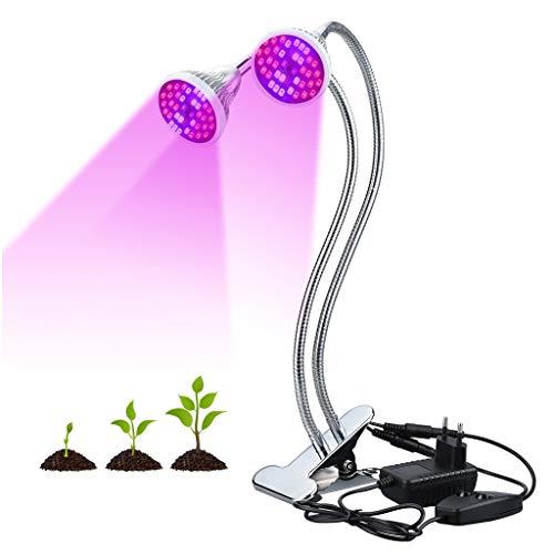 Finether Lampe de Croissance pour Plante Lampe Horticole à Double Tête 18W 80LED avec Cou de Cygne...