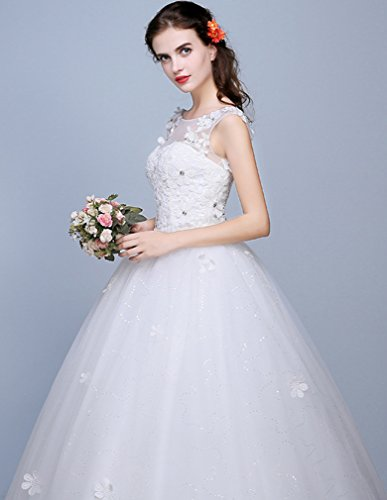 Eyekepper Robe de mariee robes mariage elegant robe nuptiale femmes elegante robe de mariee robe de dentelle Blanc