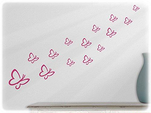 wandfabrik - Wandtattoo/Wandsticker 14 Schmetterlinge (S3S2) in Pink