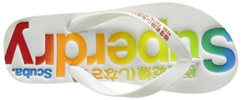 Superdry Damen Faded Logo Zehentrenner Multicolore (Optic/Optic/Jaffa Orange)