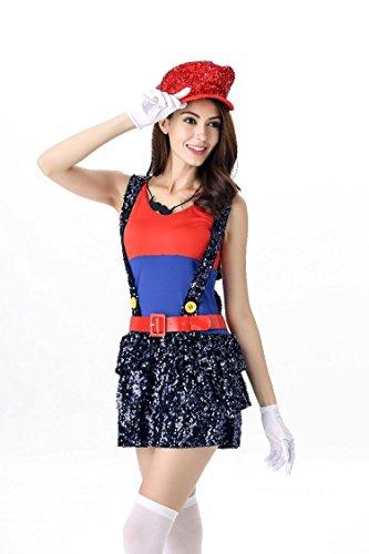 tüm für Erwachsene, sexy Klempner-Kostüm, Halloween, Super Mario Bros, Cosplay, Kostüme für Frauen Gr. One Size, rot ()