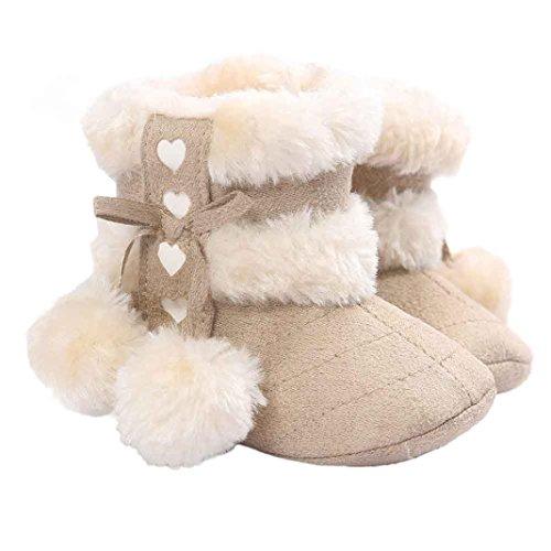 Hunpta Lauflernschuhe Kinderschuhe Baby Schneestiefel weiche Sohle weiche Krippe Schuhe Kleinkind Stiefel Beige