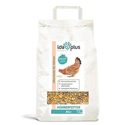 IdaPlus Hühnerfutter Mix 5 Kg - Ausgewogenes Alleinfutter | Ganzjahres Mischung, GVO-frei (auch für Legehennen) | Bestens für Futterautomaten geeignet | Enthält Calcium und Vitamine (5 Kg) von Dr. Hesse Tierpharma GmbH & Co.KG auf Du und dein Garten