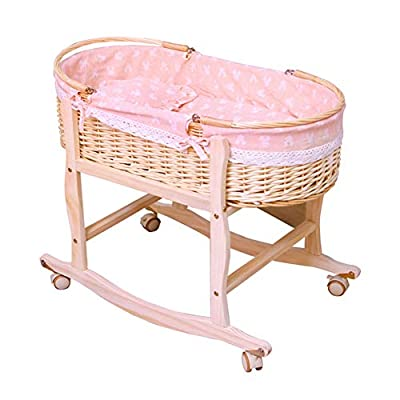 GOUO@ Baby Moses Basket Baby Cot Baby Cradle Rattan Newborn Basket Car Sleeping Basket Baby Cradle Bed Portable Shopping Basket