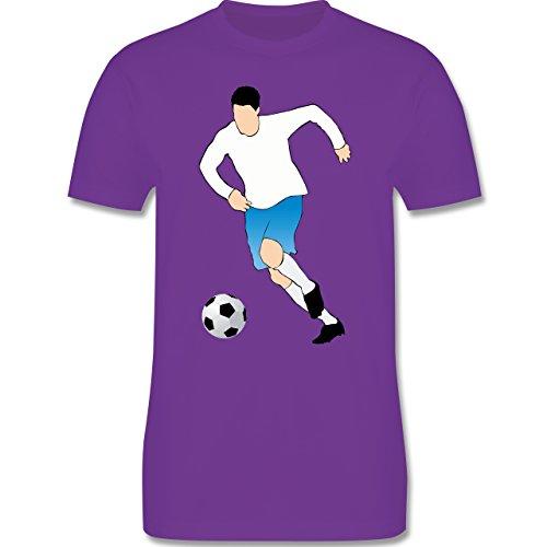 Fußball - Fußballspieler Ballbesitz Angriff Tor - Herren Premium T-Shirt Lila
