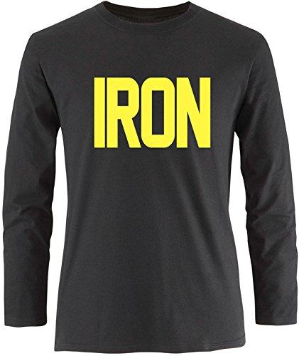 EZYshirt® Iron Herren Longsleeve Schwarz/Gelb
