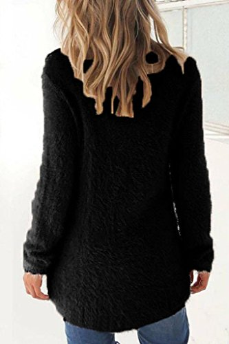 Minetom Femmes Mode Automne Hiver Chandail Manche Longue Chemises Col Rond Tops Couleur Unie Sweater Jumper Pull Noir