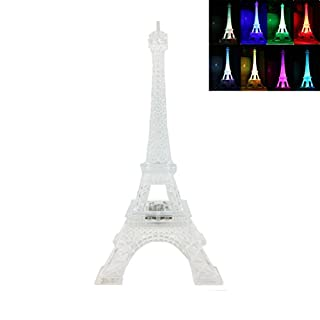 Aoneky LED Light Up Eiffel Tower, Color Changing Night Light for Table Lamp Centerpiece Party Cake Topper Decoration Gift (9.8
