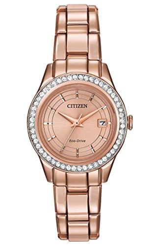 Citizen, silhouette crystal, orologio da donna al quarzo con display analogico bianco e cinturino in acciaio inox placcato in oro, fe1123-51q