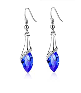 Celebrity Jewellery Royal Blue Water Drop Shaped Austrian Crystal Marquise Crystal Hook Earrings for Women