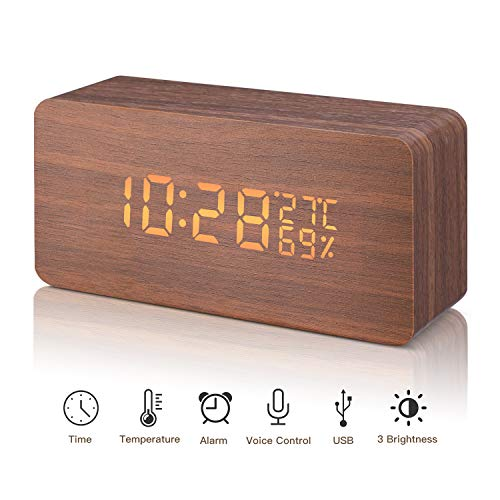 LED Reloj Despertador Digital Madera Relojes USB 3