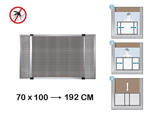 Zanzariera estensibile in alluminio con telaio per porte/finestre con tapparella 70x100/192 cm