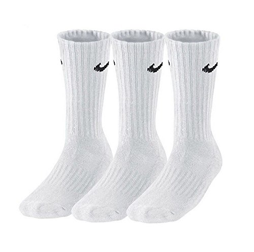 Nike 3Ppk Value Cotton Crew - Calcetines unisex, color blanco/negro, talla L/ 42-46