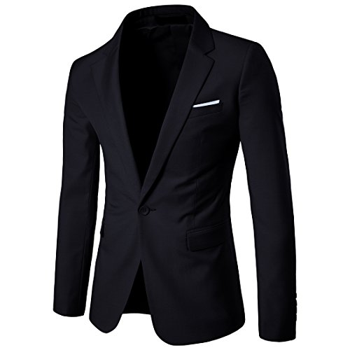 Herren Anzug Jacke Sakko Slim Fit Blazer Business Freizeit Smoking Einfarbig von Harrms,Schwarz,EU 56-58 - Etikett 5XL