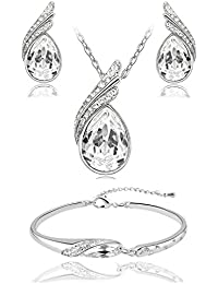 Shining Diva 18k White Gold Plated Crystal Jewellery Combo Of Pendant Necklace Set With Fancy Party Wear Earrings...