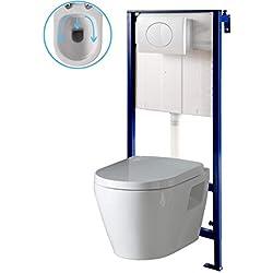 Pack WC Suspendu Mural avec Cuvette sans Bride en céramique Blanche
