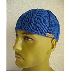 Wollkopp Männer Kappe Beanie Mütze-Uni Royalblau