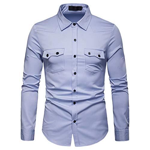 DNOQN Polo Shirt Männer Longsleeve Weiß Herren Langarmshirt Gittermalerei Große Größe Lässiges Top Bluse Shirts XL