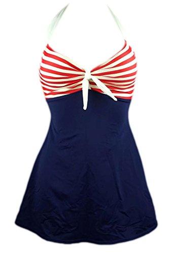 Frieda Fashion - Damen Badeanzug mit Röckchen im Marine Style, S-XXL, Viele Farben Rot