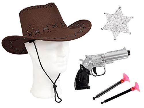 Alsino Cowboy Kostüm Accessoires (Kv-109) mit Sheriff Stern, Revolver und Cowboyhut, Farbe: braun für Erwachsene (Cowgirl Kostüm Für Jugendliche)