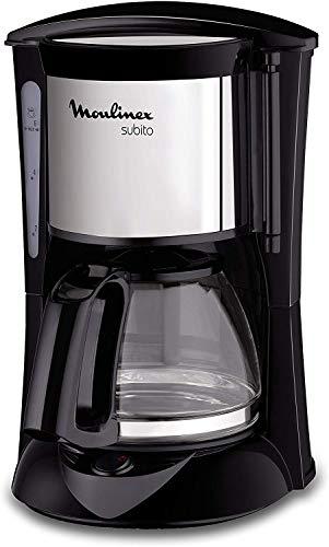 Moulinex FG150813 Cafetière Filtre Subito Mini Capacité 6 Tasses Verseuse Verre Anti-Goutte Maintien au Chaud Café Noir Inox