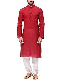 RG Designers Men's Handloom Red Kurta Pyjama
