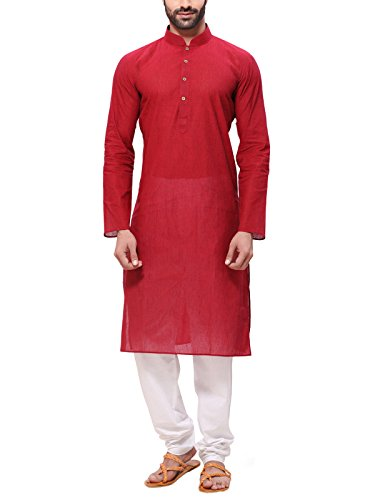 1. RG Designers Men's Cotton Kurta Pajama Set (HandloomRedKurta Pajama Set44_Red_XX-Large)