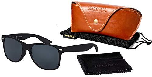 Balinco Hochwertige Polarisierte Nerd Rubber Sonnenbrille im Set (24 Modelle) Retro Vintage Unisex Brille mit Federscharnier (Black-Smoke)