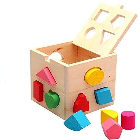 Jeu Cubes en Bois, Netspower Jouets en Bois Cube de Tri de Formes Boîte à Formes en Bois ,Formes à Trier et à Empiler - Treize Trou Intelligence Box Géométrie Building Blocks