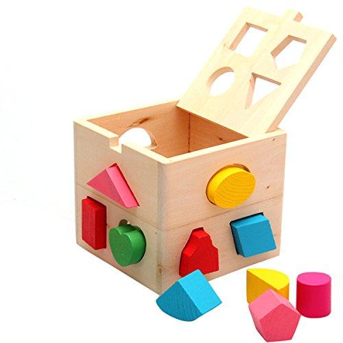 Juegos de Bloques, Netspower Casilla de Madera Sabiduría y Reconocer Patrones Geométricos Juguetes Educativos para la Infancia Primaria Material Didáctico Caja de Madera con Formas Geométricas
