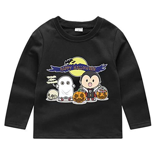 Romantic Kinder Baby Jungen Halloween Kostüme Lange Ärmel Bat/Kürbis/Brief Gedruckt T-Shirt Schickes Kürbis Kostüm Top Sweatshirts für Karneval Party Halloween Fest (Schwarz 6, 130)