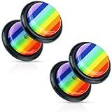 Pair of 8mm Round UV Acrylic Stainless Steel Rainbow Earrings (Fake Ear Plug Style)