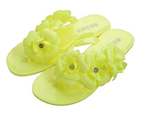 Good Night Mode Fleur Chaussures plates Gelée Tongs Sandales pour femmes, Jaune