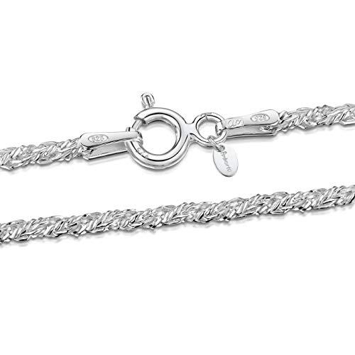 Amberta® Bijoux - Collier - Chaîne Argent 925/1000 - Maille Corde - Largeur 1.8 mm - Longueur 40 45 50 55 60 cm (45cm)