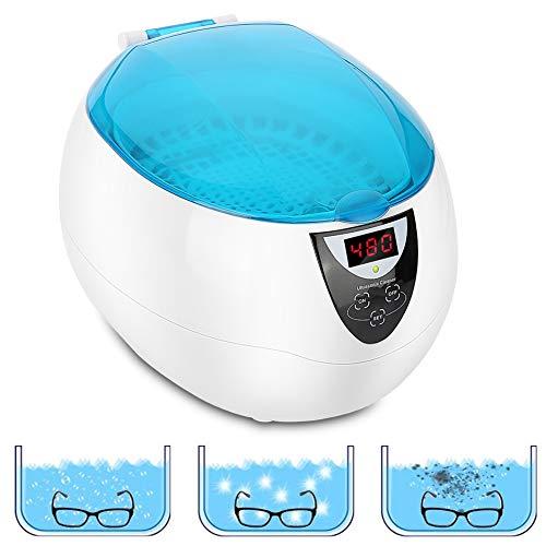 750ml Ultraschallreiniger Reinigungsgerät, Digital Ultrasonic Cleaner Reiniger Edelstahl Ultraschallbad mit Uhrenhalter und Reinigungskorb für Brillen Schmuck Zahnprothesen Tattoo Werkzeuge, FDA