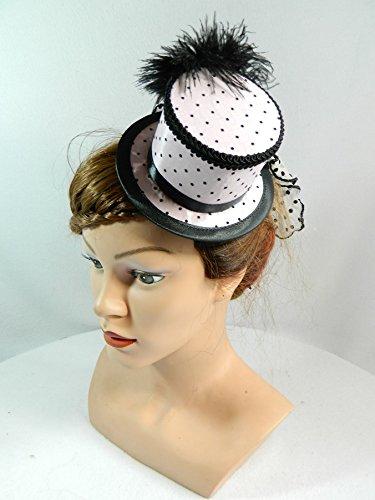 Mini Zylinder rosa schwarz Gothic Damenhut Fascinator Hütchen Schleier Rockabilly Braut Polkadots (Dot Polka Kostümen)