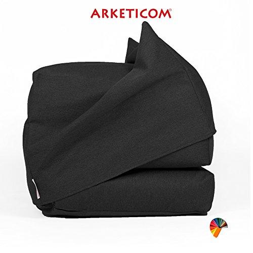 Arketicom FU-TOUF Weicher Hocker, der zum Klappbett wird Klappbare Matratze oder Klappstuhl für Gäste Puff Room in Futon Stoff Gepolstert in Styroporkugeln 63x63x45 / 190x63x15 (Creme) (dunkelgrau schwarz)