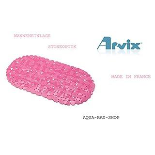 Schöne Badewannenmatte- BADEWANNENEINLAGE- Antirutschmatte STONE OPTIK-Kieseloptik-Steinoptik-Form:OVAL Farbe.Pink/-Rosé -ARVIX-NEU -Maße:ca.:67x35cm-LGA Schadstoffrei-NEU 2015