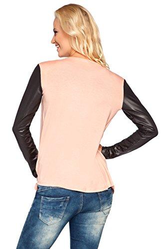 futuro fashion femme chic Pull-over Cardigan cascade effet mouillé manches coton BLAZER BOLERO style 8079 Couleur Pêche
