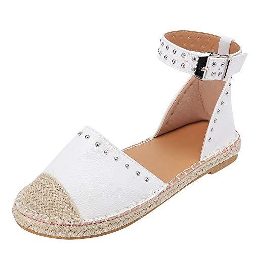 Strungten Frauen Hanfseil Gewebt Flache Sandalen Niet Wort Schnalle Einzelne Schuhe Tasche Fuß Sandalen Römische Schuhe Casual Strand Sandalen -
