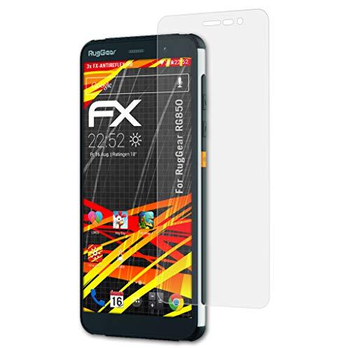 atFoliX Schutzfolie kompatibel mit RugGear RG850 Bildschirmschutzfolie, HD-Entspiegelung FX Folie (3X)