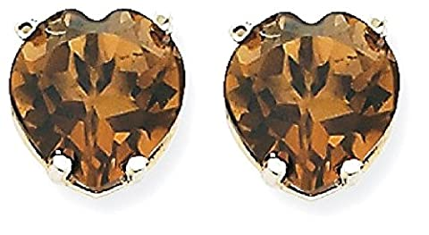 IceCarats 14kw 8mm Heart Smoky Quartz Earring