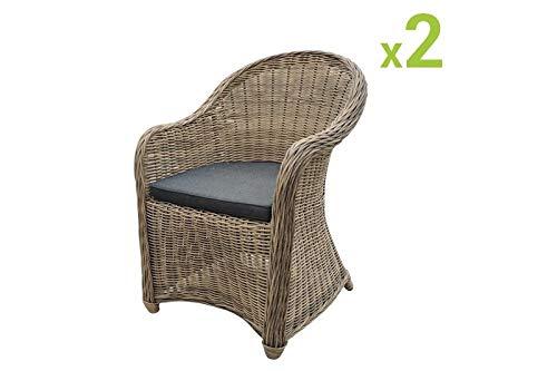 Au jardin de Chloé -Lot de 2 fauteuils CLEA en résine tressée Ronde-Couleur Osier Naturel