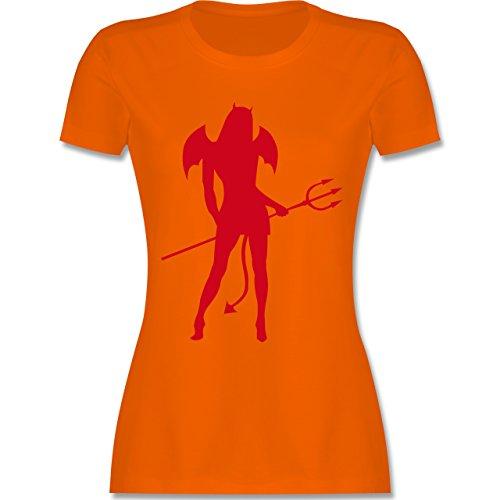Halloween - Sexy Teuflin - tailliertes Premium T-Shirt mit Rundhalsausschnitt für Damen Orange