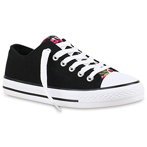 Damen Sneakers Sportschuhe Sneaker Low Denim Stoffschuhe Blumen Camouflage Flandell Schwarz Blumen Cabanas