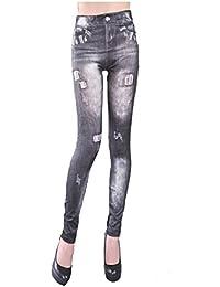 LSWA Jeans Leggings in Hose Tattoo destroy Look Röhre Jeans look Graffit Camouflage 34/36/38/40/42/44