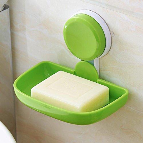 Xuan - Worth Having Titulaire de Savon de Salle de Bains Simple en Plastique Vert de Tasse d'aspiration